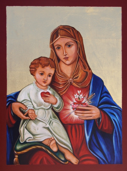 Immaculate Heart of Mary  17x13 Gessoed Wood Panel, 23K gold. Acrylic